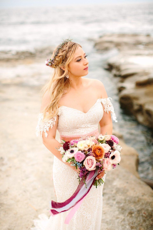 Bride at the beach - www.marycostaweddings.com