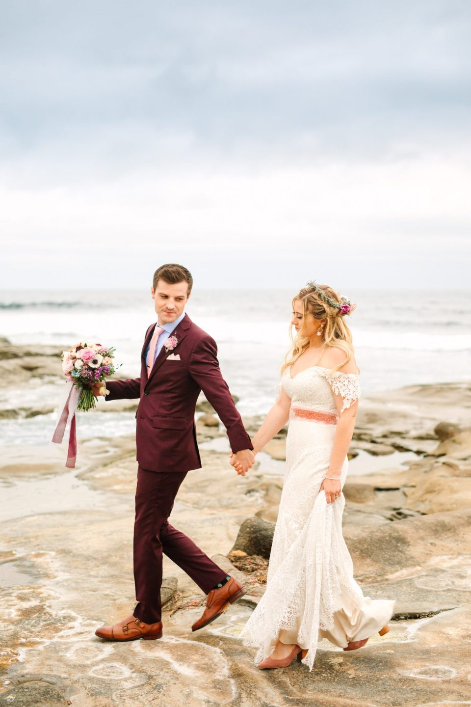 Bride and groom walking at beach - www.marycostaweddings.com
