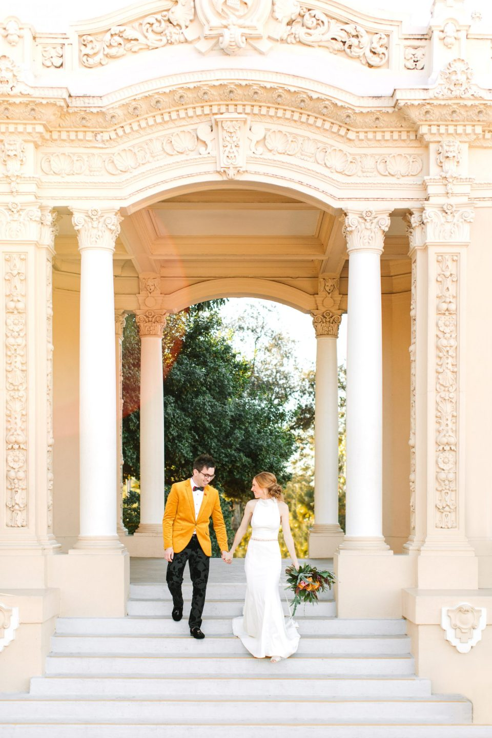 Wedding couple at Spreckels Organ Pavilion in Balboa Park by Mary Costa Photography
