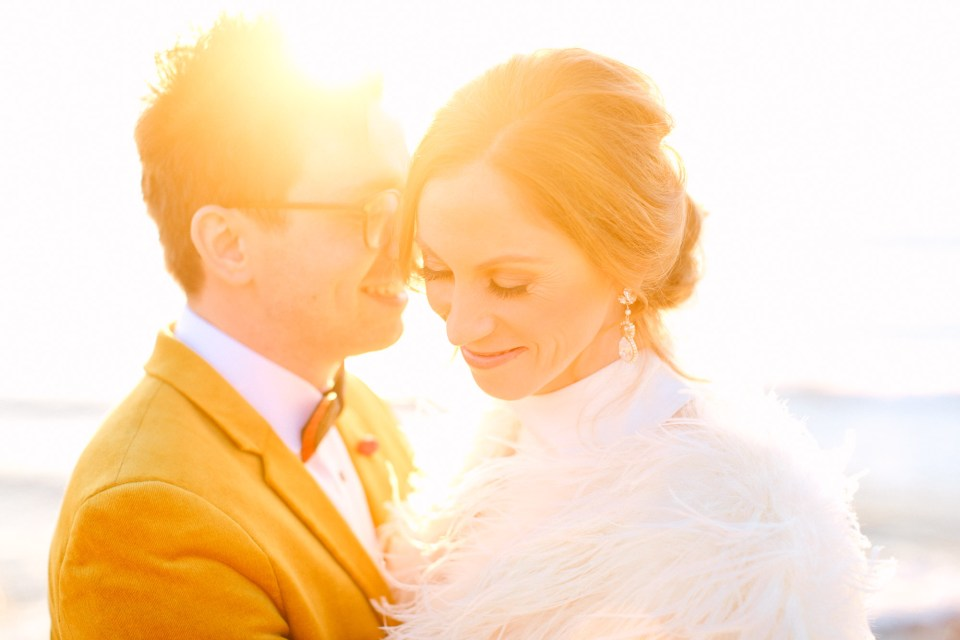 Golden hour wedding couple by Mary Costa Photography