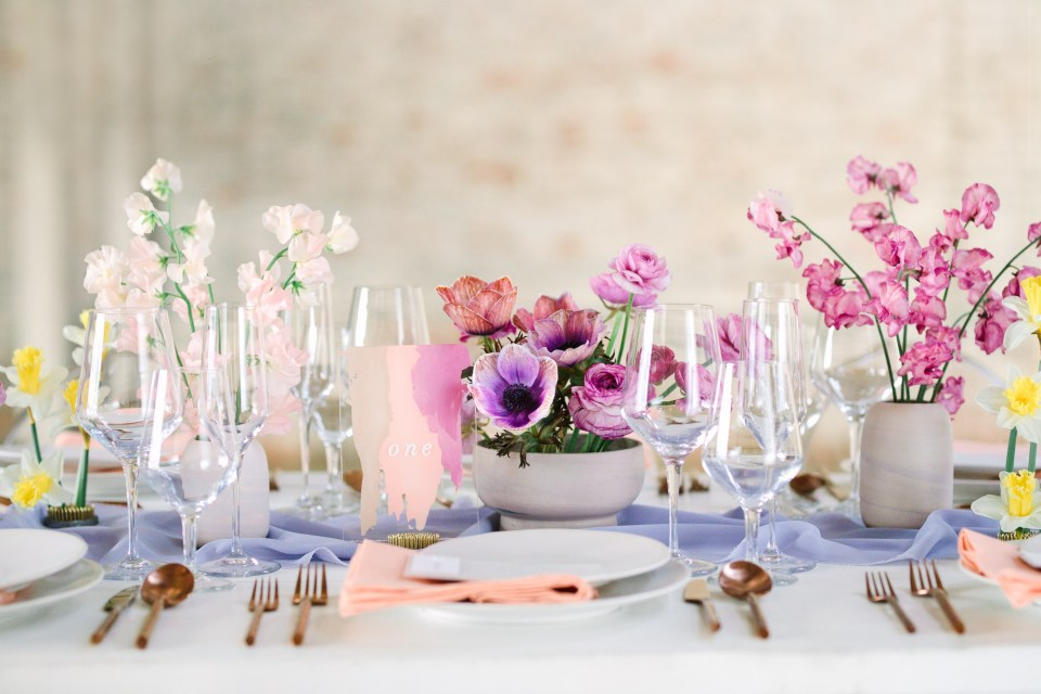 Springtime wedding table by Mary Costa Photography