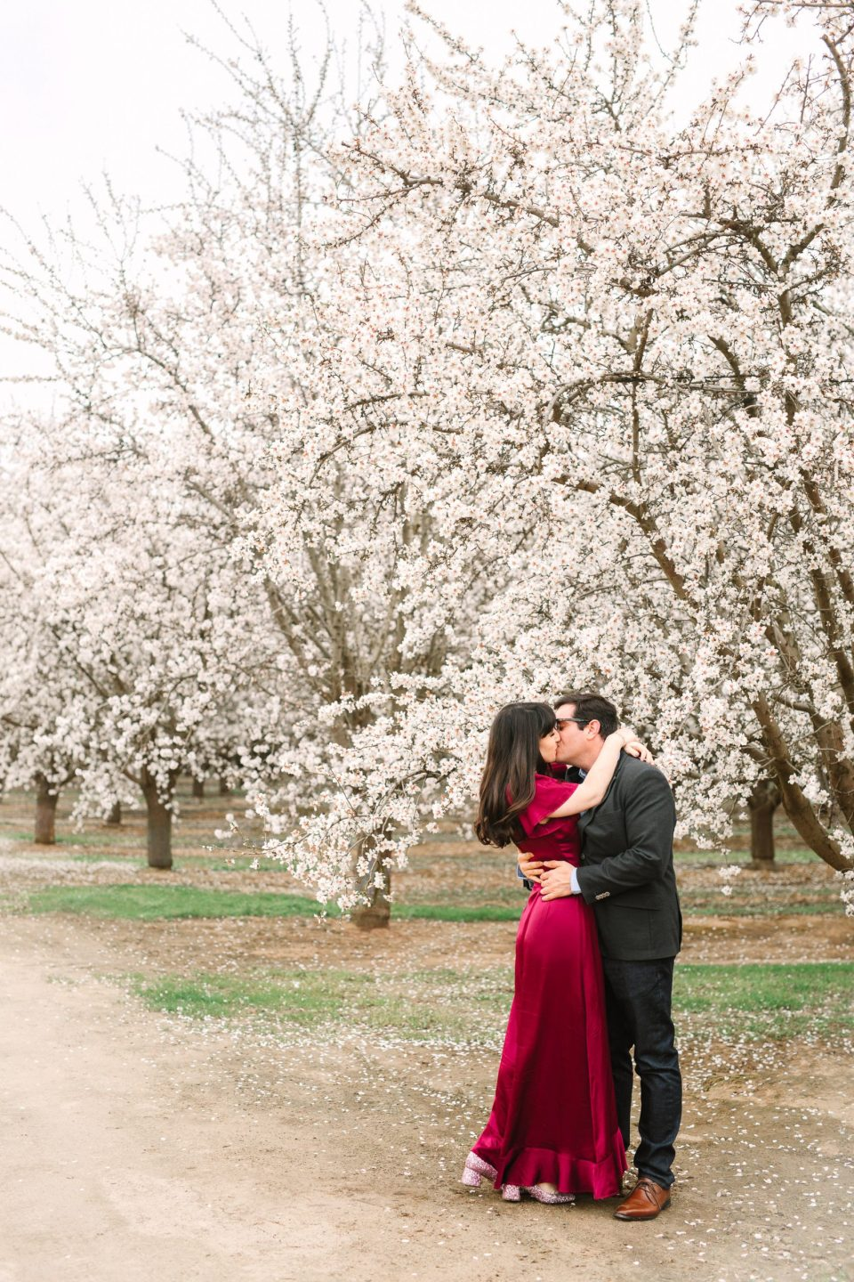 Blooming almond orchard engagement session by Mary Costa Photography