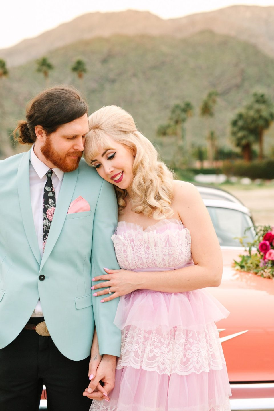 Modern vintage couple in Palm Springs by Mary Costa Photography