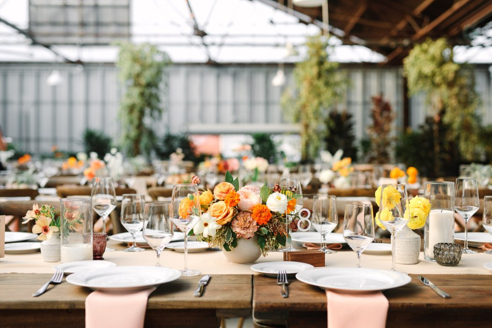 Colorful wedding reception by Mary Costa Photography