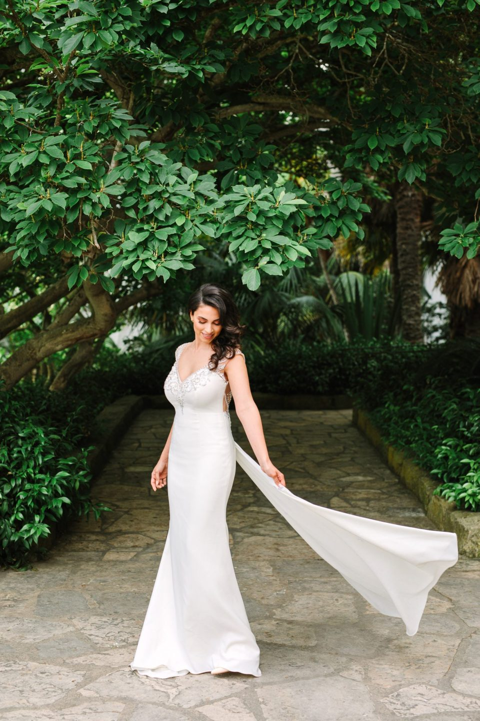 Bride twirling at Santa Barbara Courthouse by Mary Costa Photography