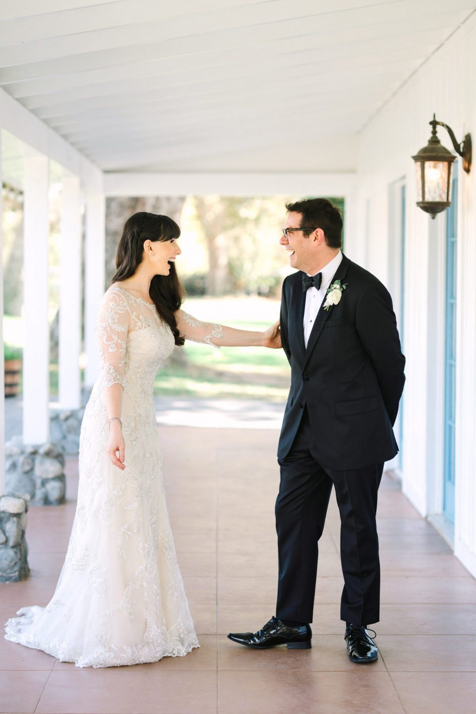 Bride and groom first look by Mary Costa Photography
