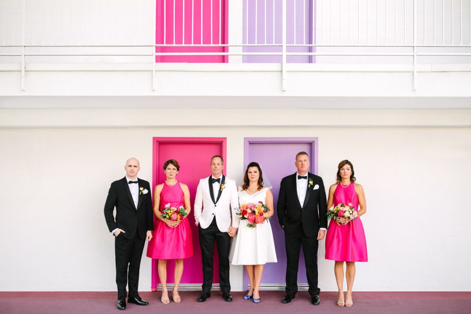 Colorful but serious wedding party at Saguaro Palm Springs www.marycostaweddings.com