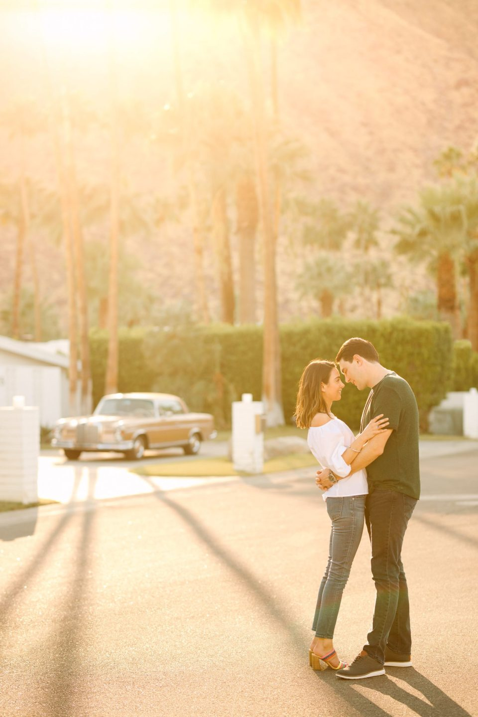 Palm Springs engagement session with vintage car www.marycostaweddings.com