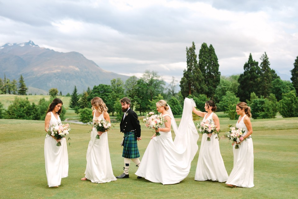 Bridal party walking at Millbrook Resort New Zealand Indian Fusion wedding at Fig House Los Angeles by Mary Costa Photography