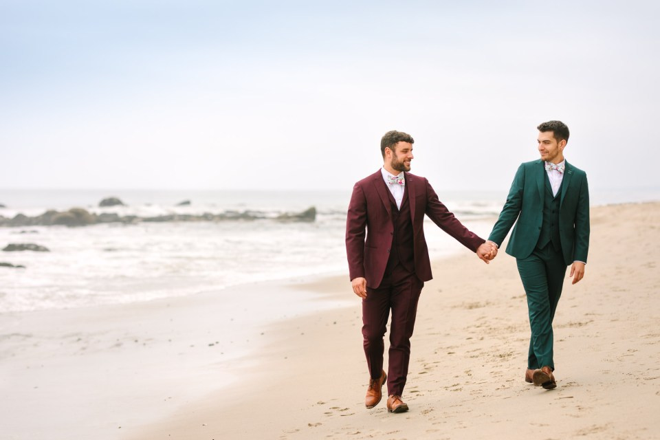 Adam and KC in Malibu by Groom getting ready in emerald tux by Mary Costa Photography
