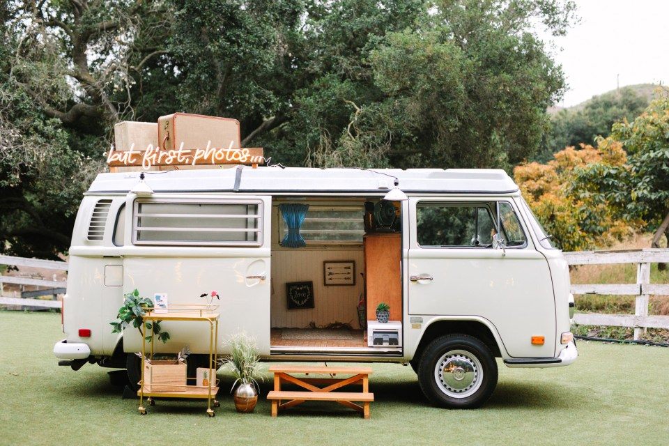 VW Van photo booth by Mary Costa Photography