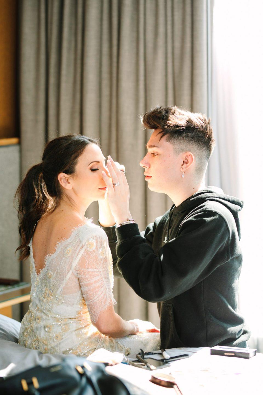 James Charles doing Ellie Altshuler's wedding makeup www.marycostaweddings.com