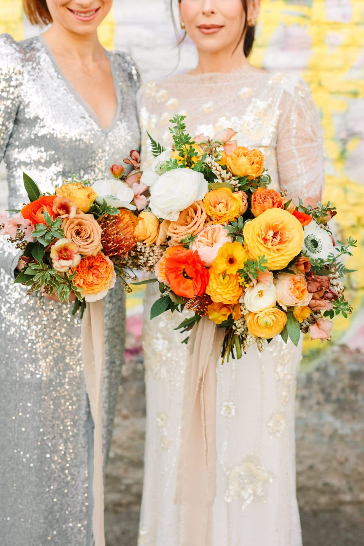 Colorful bridal bouquets by Shindig Chic www.marycostaweddings.com