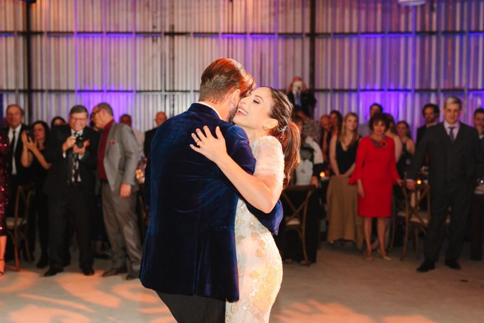 Bride and groom dancing at wedding www.marycostaweddings.com