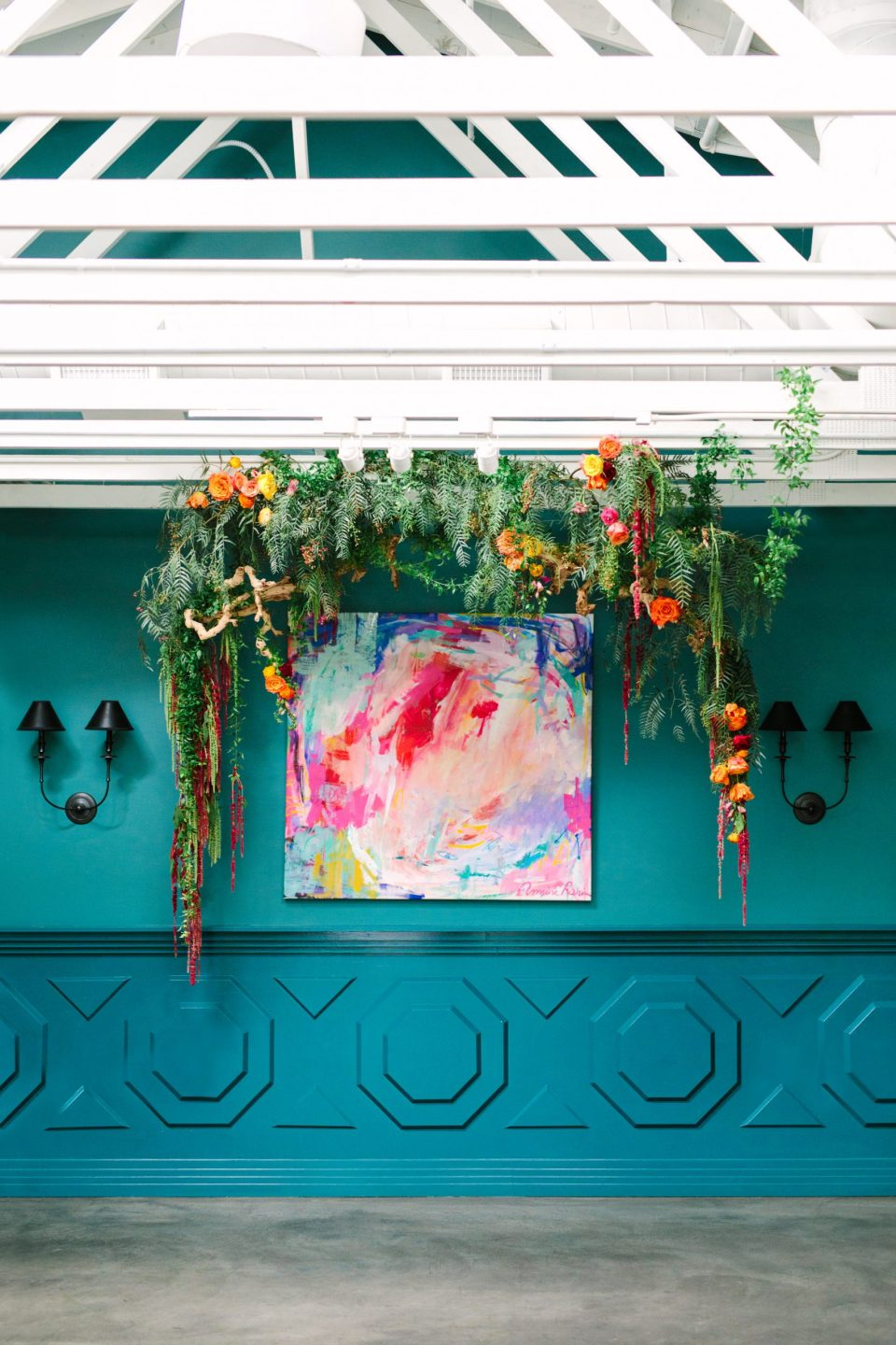 Floral ceremony arch at Fig House Los Angeles - www.marycostaweddings.com