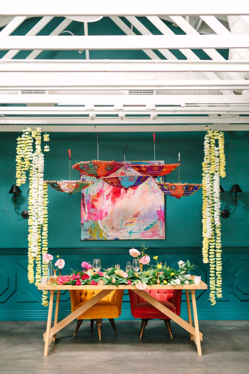 Colorful fusion sweetheart table at The Fig House - www.marycostaweddings.com