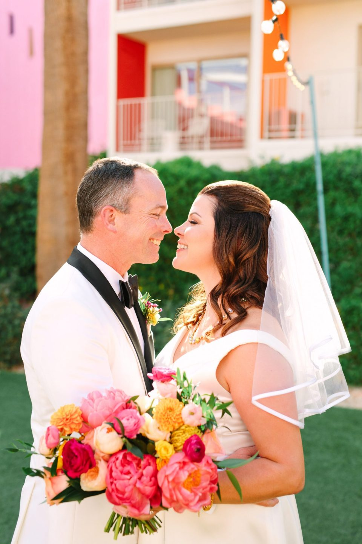 Bride and groom inside Saguaro Palm Springs www.marycostaweddings.com