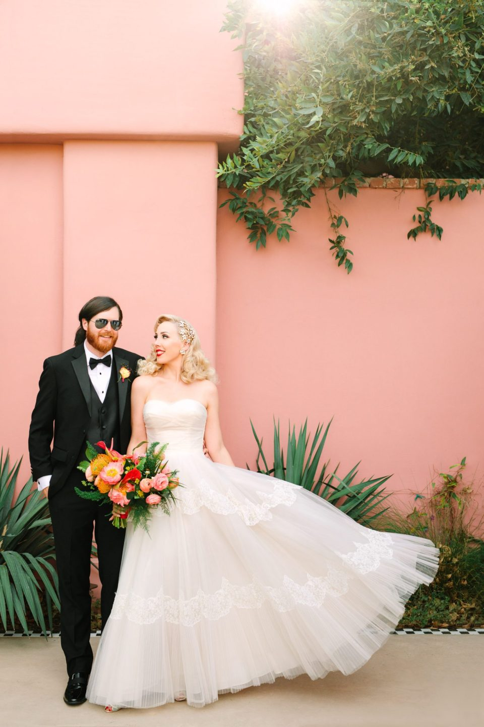 Bride and groom at pink Sands Hotel and Spa www.marycostaweddings.com