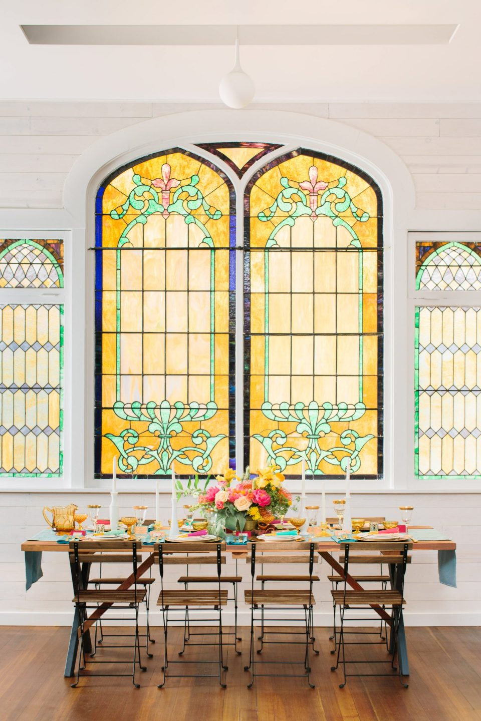 Stained glass reception space at Ruby Street Highland Park - www.marycostaweddings.com
