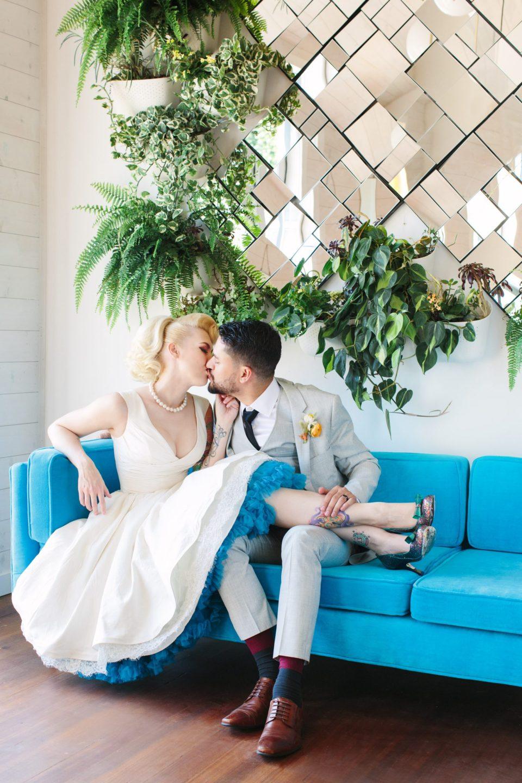 Bride and groom kissing at Ruby Street Los Angeles - www.marycostaweddings.com