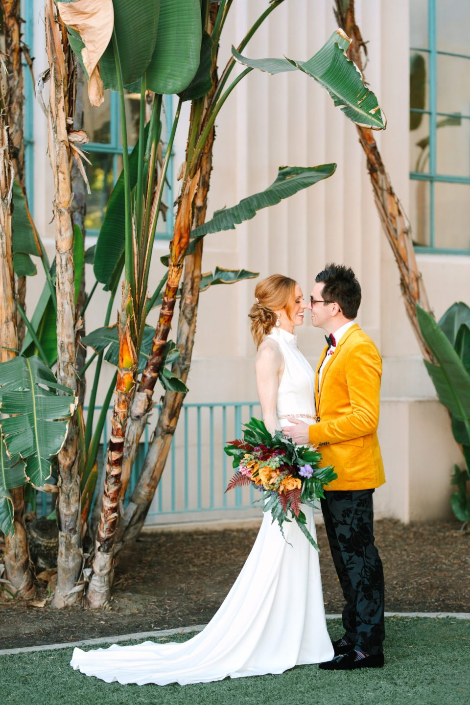 Bride and groom at San Diego Courthouse - www.marycostaweddings.com