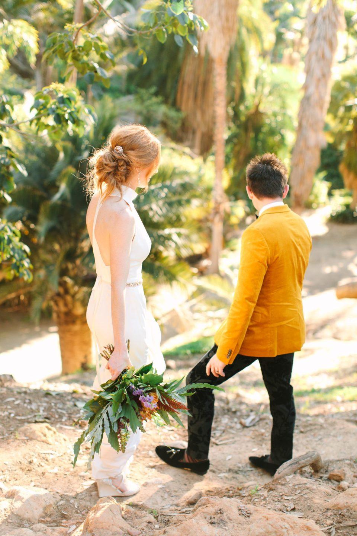 Bride and groom exploring Balboa Park San Diego - www.marycostaweddings.com
