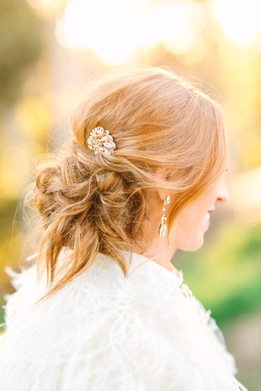 Cool messy bridal updo - www.marycostaweddings.com