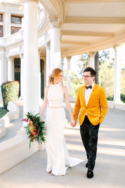 Bride and groom walking in Balboa Park - www.marycostaweddings.com