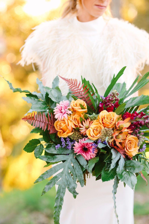 Wild and colorful bridal bouquet - www.marycostaweddings.com