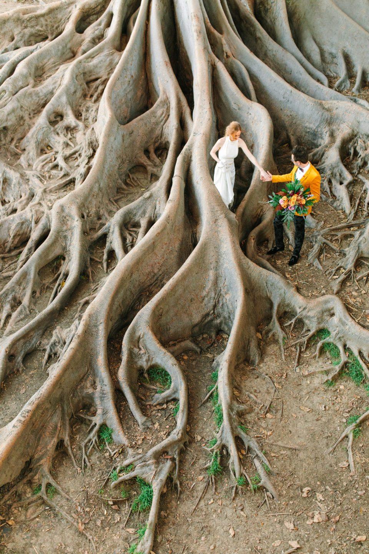 Couple walking among fig tree roots - www.marycostaweddings.com
