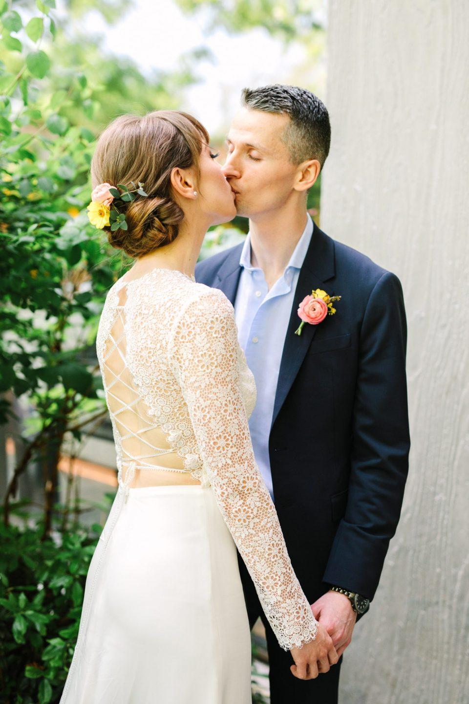 Bride and groom kissing - www.marycostaweddings.com