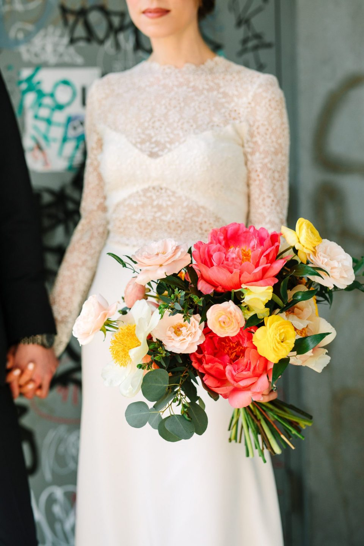 Colorful peony bouquet made by Flower Witch - www.marycostaweddings.com