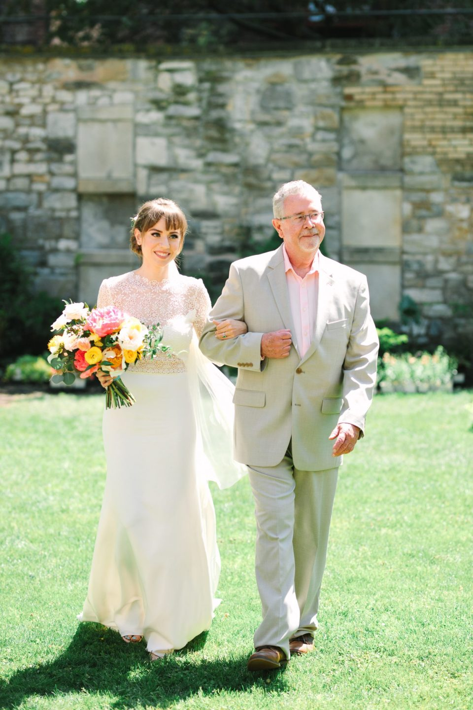 Bride and father walking down the aisle - www.marycostaweddings.com