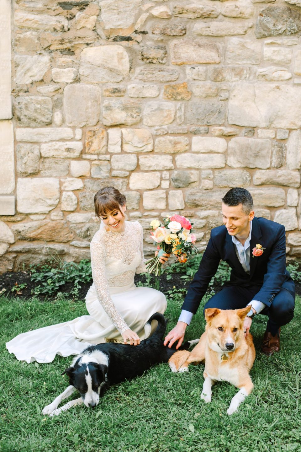 Bride and groom with their dogs - www.marycostaweddings.com