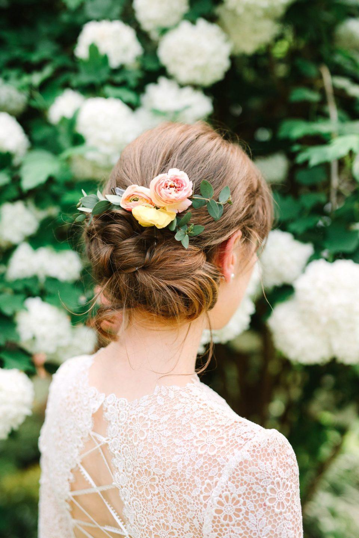 Bridal updo with flowers - www.marycostaweddings.com