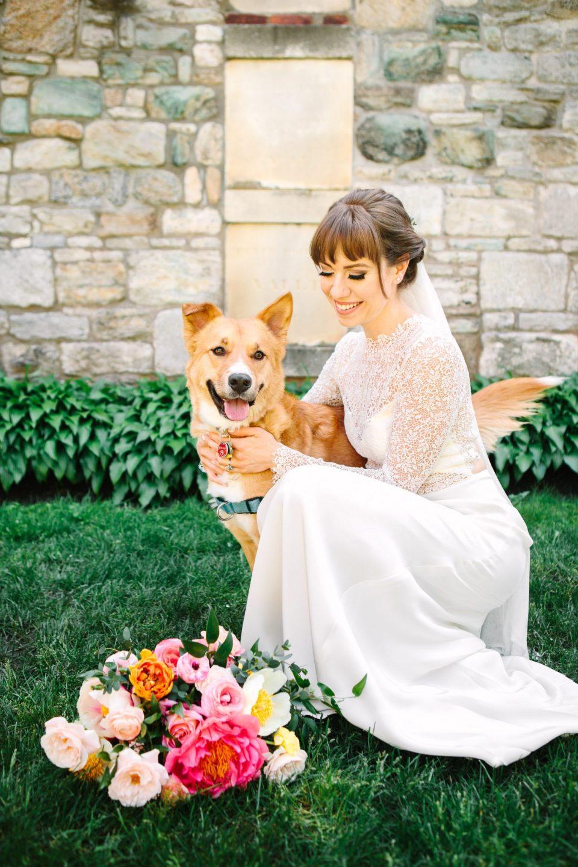 Bride with her dog - www.marycostaweddings.com
