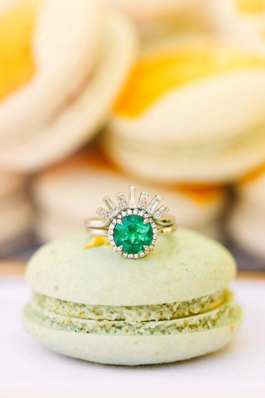 Art Deco inspired emerald engagement ring with macaron - www.marycostaweddings.com