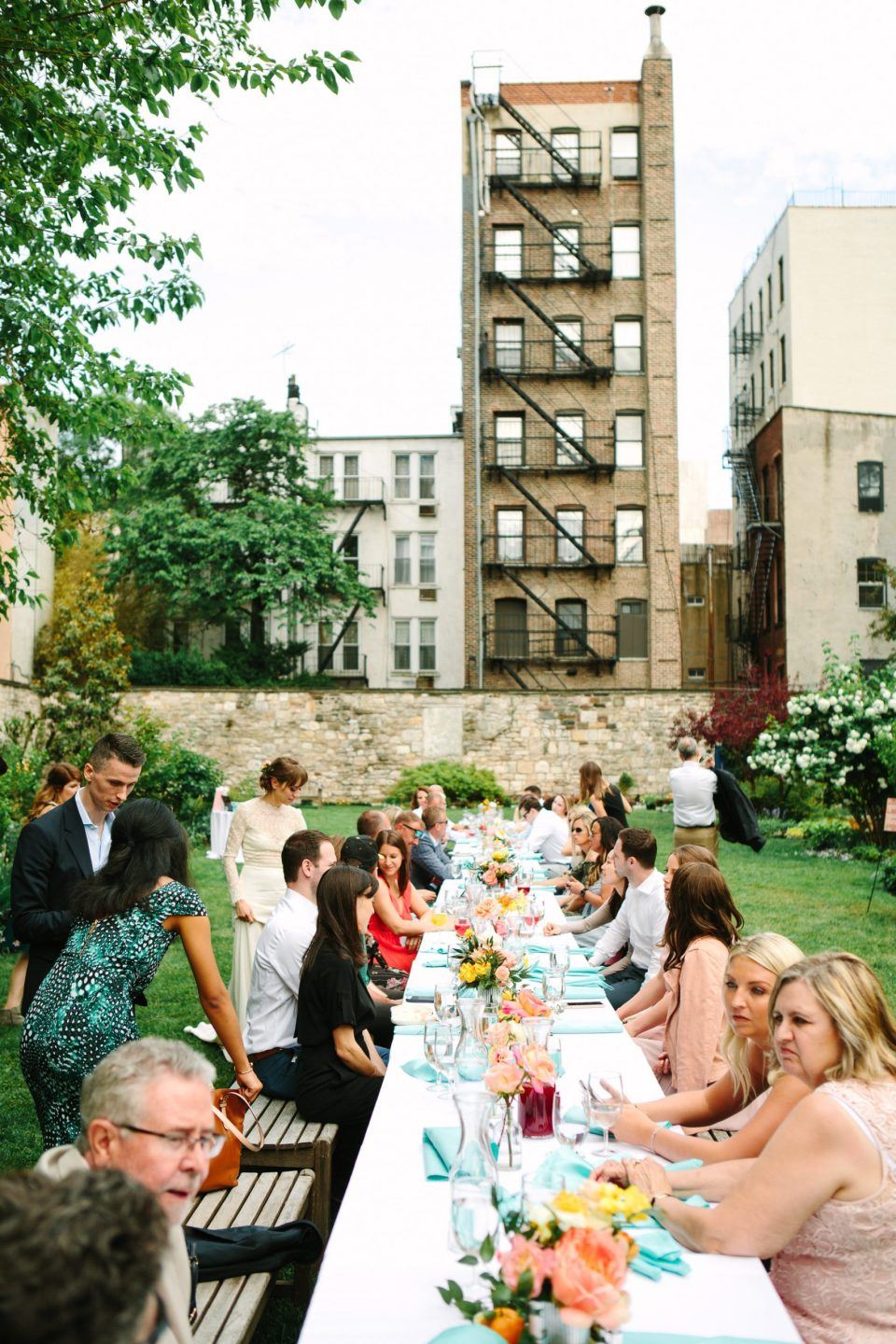 Guests at New York Marble Cemetery luncheon wedding