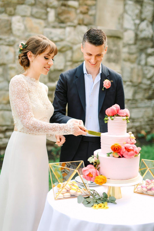 Bride and groom cutting their cake - www.marycostaweddings.com