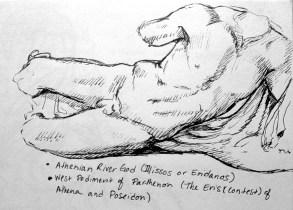 """Athenian River God ( Illissos or Eridanos), West Pediment of Parthenon ( The Eris """"contest"""" of Athena and Poseidon). The Acropolis Museum, Greece, 2014"""