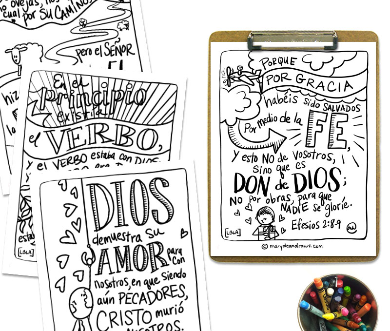 Printable Bible Verse Coloring Pages + Cards: GOOD NEWS STORY (Spanish)