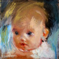"Baby Angel, oil on canvas, 6"" x 6"", 2013."
