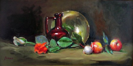 "Still Life with Four Reds, oil on canvas, 12"" x 24,"" sold."