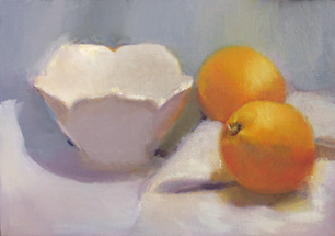 "Still Life with Two Oranges, oil on canvas, 10"" x 12"", available"