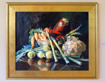 "Still Life with Vegetables, oil on canvas, 18"" 24"". Sold."