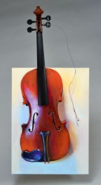 "An Instrument Playing Hard to Get, oil on canvas with violin parts, 25.5"" x 12"". Created by invitation for the Wisconsin Youth Symphony's 2014 Art of Note Gala fundraiser auction. Collection of Andrée and John Valley."