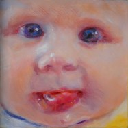 "Drool Baby, oil on birch panel, 6"" x 6"". Honorable Mention Award, Arts West Exhibit, Eau Claire, WI."
