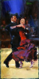 "The Latin Dancers, oil on canvas, 14"" x 12""."