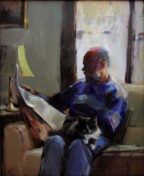 "The Sunday Times and a Grey Tuxedo, oil on canvas, 20"" x 16""."