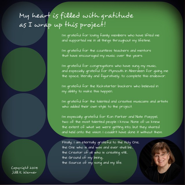 Psalm for the Artist, Jill Warner - Cover for CD (right interior) by Mary Warner.
